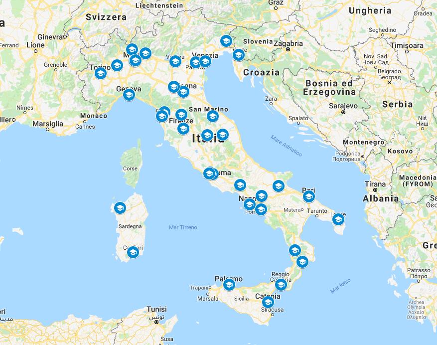 Mappa Università Coinvolte progetto Scuola aperta collaborativa open source